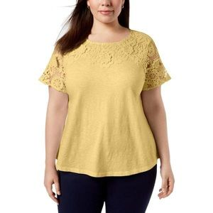 NWT CHARTER CLUB Womens Plus Embroidered Lace Top